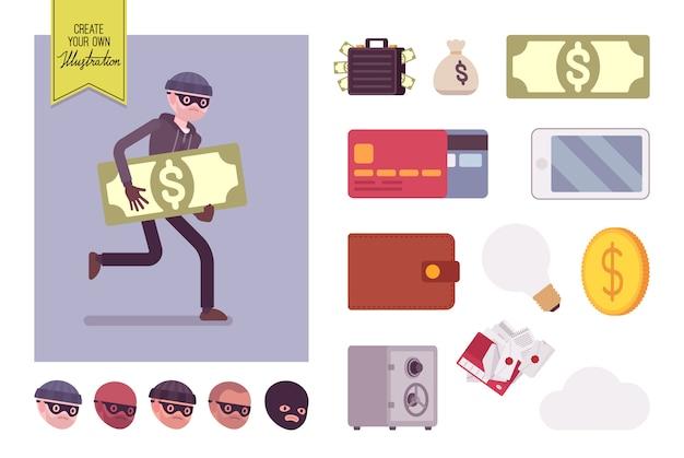 Homme voleur personnage runnig avec set de création de choses volées Vecteur Premium