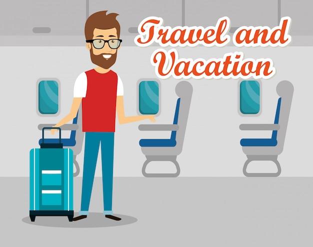 Homme voyageur à l'aéroport Vecteur gratuit