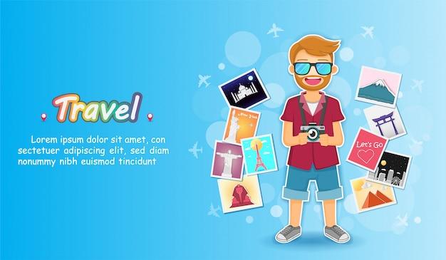 Homme voyageur et album photo avec éléments de voyage. Vecteur Premium