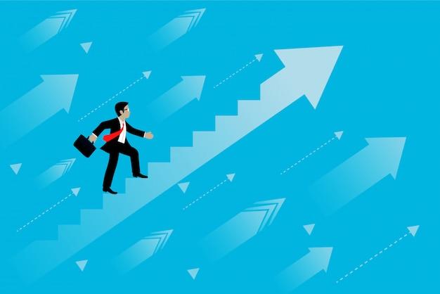 Les hommes d'affaires commencent à gravir les marches de la croissance pour atteindre le succès. Vecteur Premium
