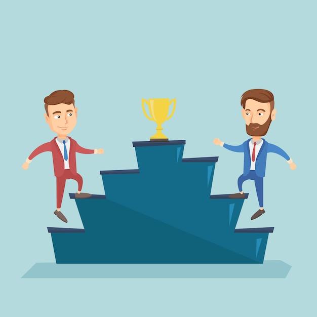 Les hommes d'affaires en compétition pour le prix de l'entreprise. Vecteur Premium