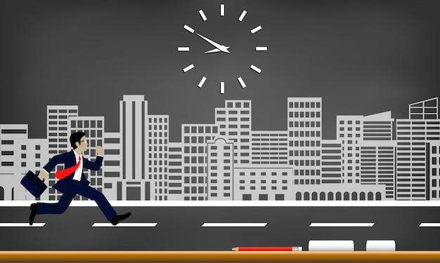 Les hommes d'affaires courent contre le temps. suivez l'horloge pour travailler tard. Vecteur Premium