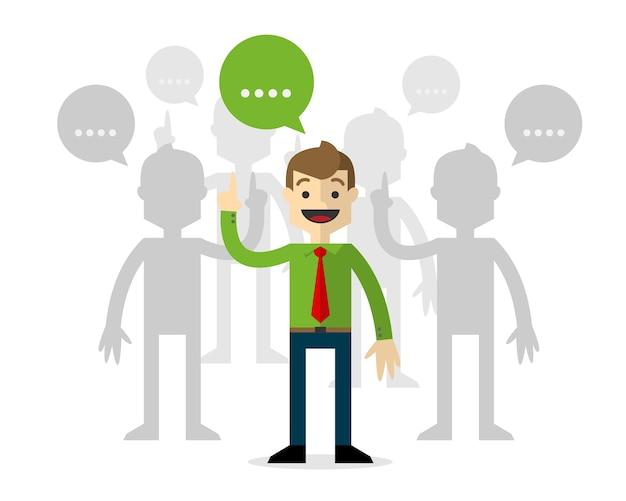 Hommes d'affaires dans les forums, en parlant. Vecteur Premium