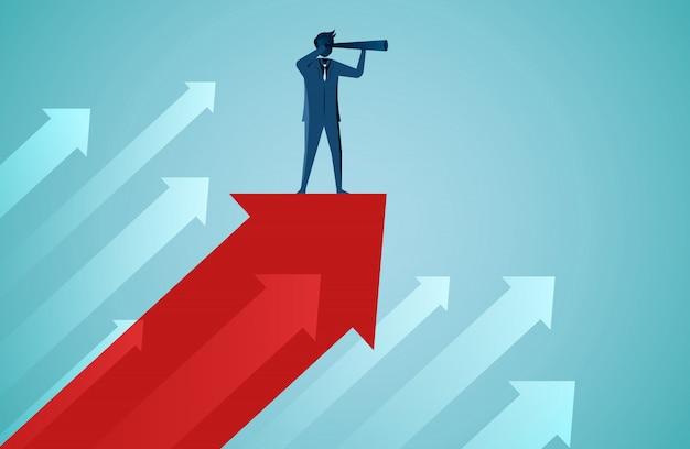 Un hommes d'affaires debout tenant des jumelles sur la flèche rouge se jetant vers le ciel Vecteur Premium