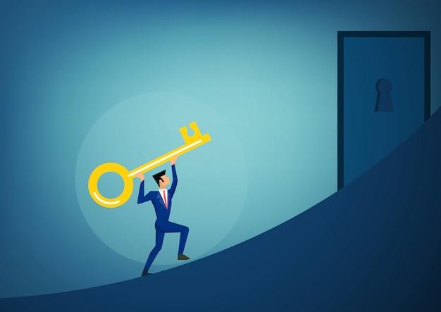 Les hommes d'affaires détenant la clé du succès s'avancent pour ouvrir le futur trou de la serrure brillant. Vecteur Premium