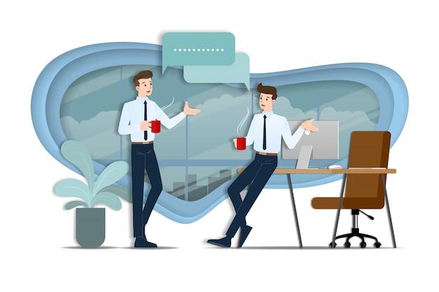 Les hommes d'affaires discutant. Vecteur Premium