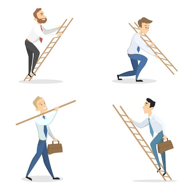 Hommes D'affaires Avec échelles De Carrière Sur Blanc. Vecteur Premium