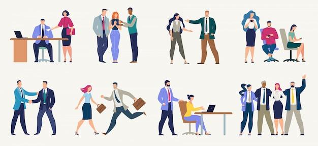 Hommes D'affaires, Employés De Bureau Ensemble Plat Vecteur Premium