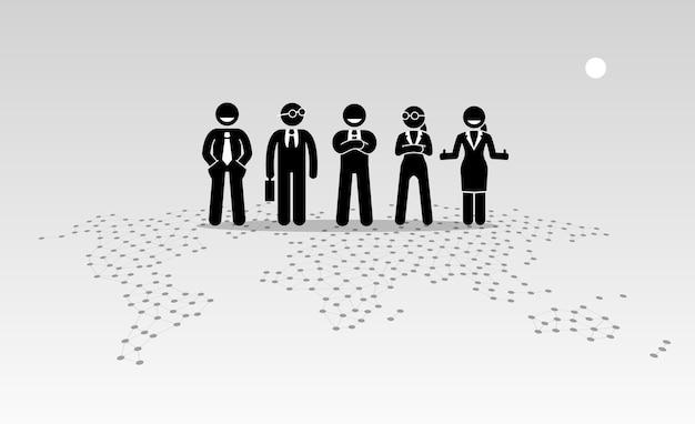 Hommes D'affaires Et Femmes D'affaires Debout Au Sommet D'une Carte Du Monde. Vecteur Premium