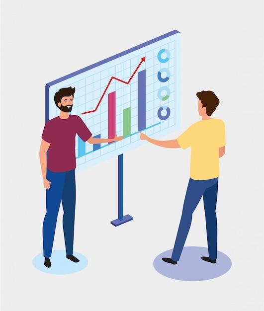 Hommes d'affaires avec des icônes graphiques statistiques Vecteur gratuit