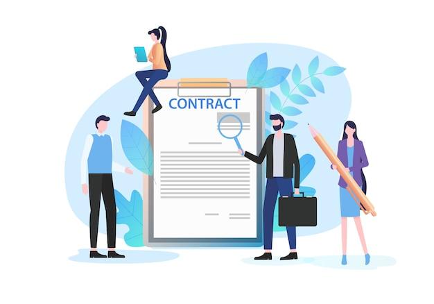 Hommes d'affaires inspecter le document avec la loupe signe femme stylo Vecteur Premium