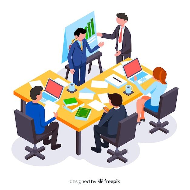 Hommes d'affaires isométriques en réunion Vecteur gratuit
