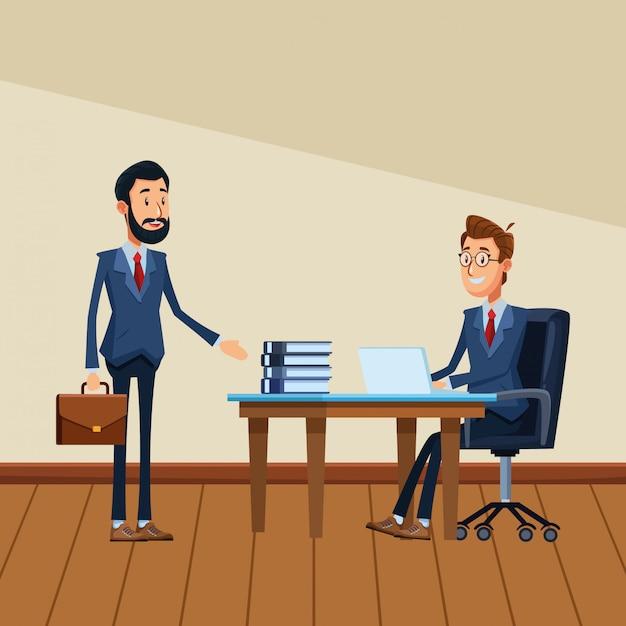 Hommes d'affaires avec mallette Vecteur Premium