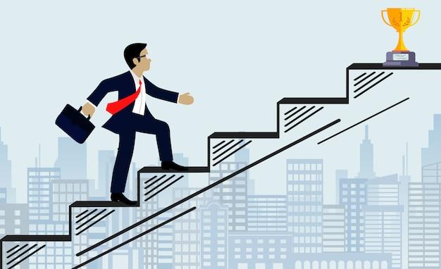 Les Hommes D'affaires Montent Les Escaliers à L'illustration De L'objectif Vecteur Premium