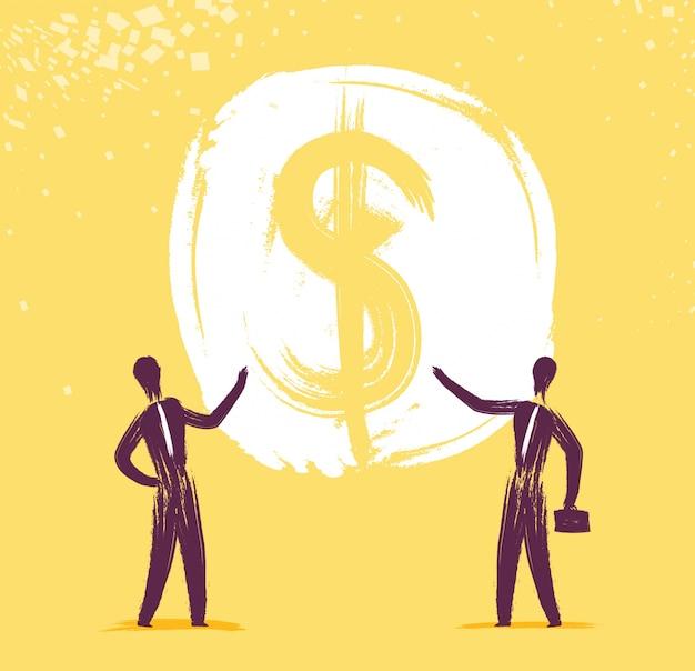 Hommes d'affaires montrant de l'argent Vecteur gratuit
