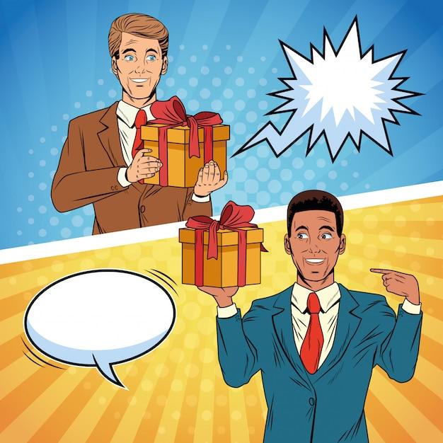 Hommes d'affaires de pop art avec dessin animé de coffrets cadeaux Vecteur Premium