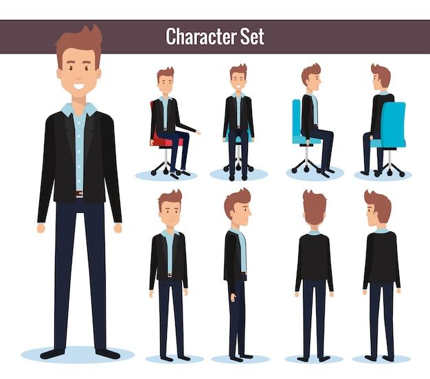 Hommes d'affaires posant sur une chaise de bureau et support Vecteur Premium