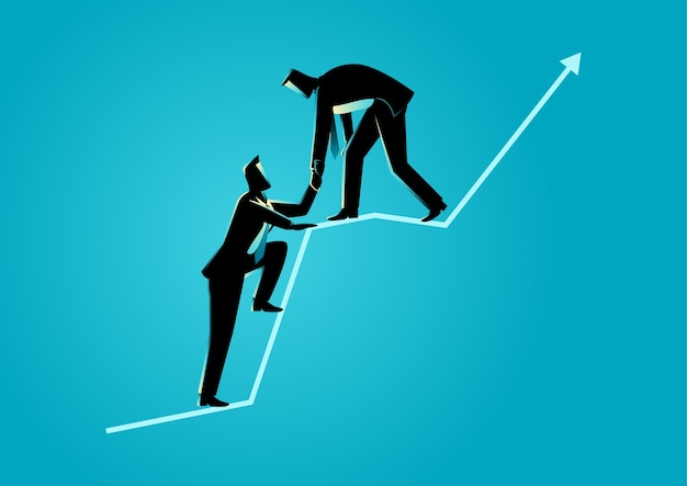 Hommes d'affaires s'entraidant au sommet de la charte graphique Vecteur Premium