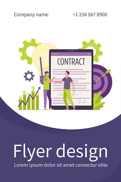 Hommes D & # 39; Affaires Signant Un Contrat Avec Un Modèle De Flyer Plat De Signature électronique Vecteur gratuit