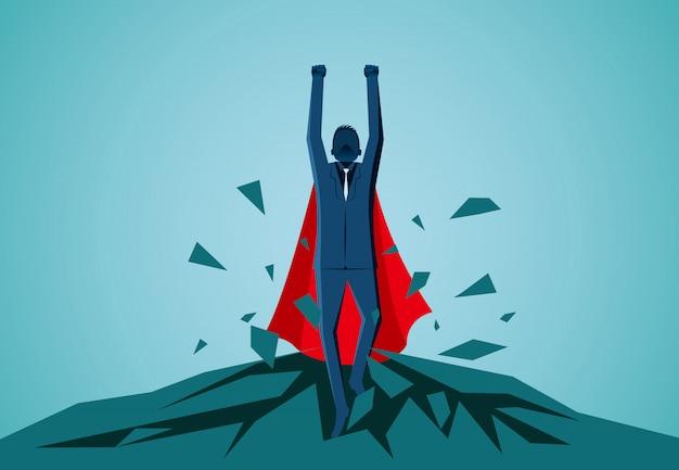 Les hommes d'affaires de super-héros jaillissant du rocher volent dans le ciel Vecteur Premium