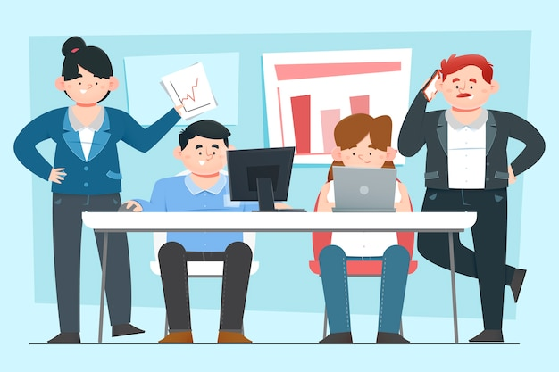 Hommes D'affaires Travaillant En équipe Vecteur gratuit
