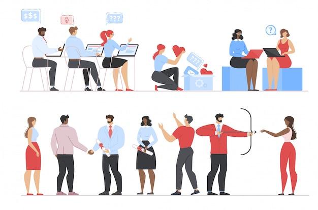 Hommes d'affaires travaillant, obtenant leur diplôme, ensemble de blogs Vecteur Premium