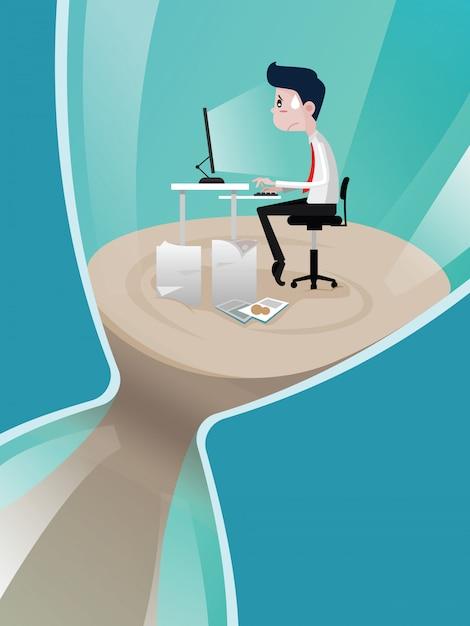 Les hommes d'affaires à travailler dans le sablier à l'heure limite Vecteur Premium