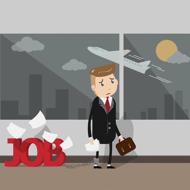 Les Hommes D'affaires Très Occupés Ont Besoin De Vacances Pour Partir En Vacances. Vecteur Premium