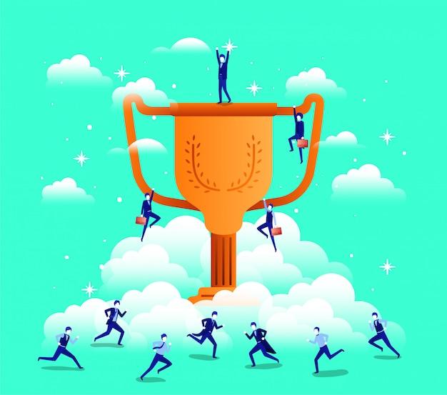 Hommes d'affaires avec trophée Vecteur Premium