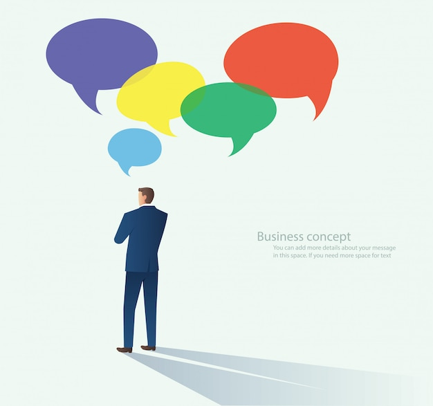 Hommes d'affaires avec le vecteur de bulle de discussion Vecteur Premium