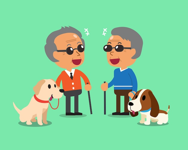 Les hommes âgés aveugles et leurs chiens Vecteur Premium