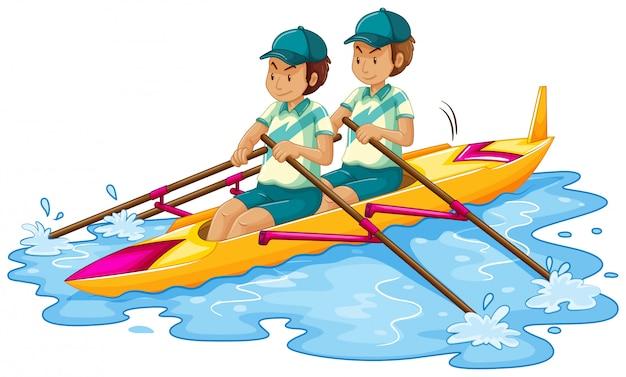 Hommes en canoë sur blanc Vecteur Premium