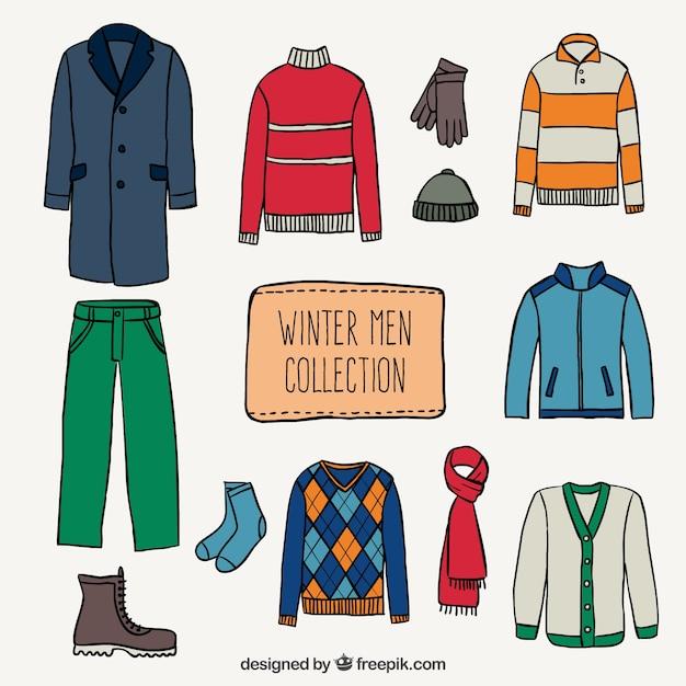Les hommes collection hiver Vecteur gratuit