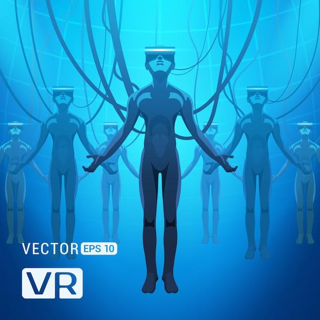 Les hommes dans un casque de réalité virtuelle. figures masculines futuristes dans un casque vr sur fond abstrait bleu Vecteur Premium