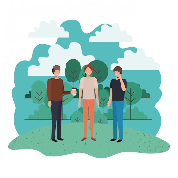 Les hommes dans le personnage avatar du paysage Vecteur Premium