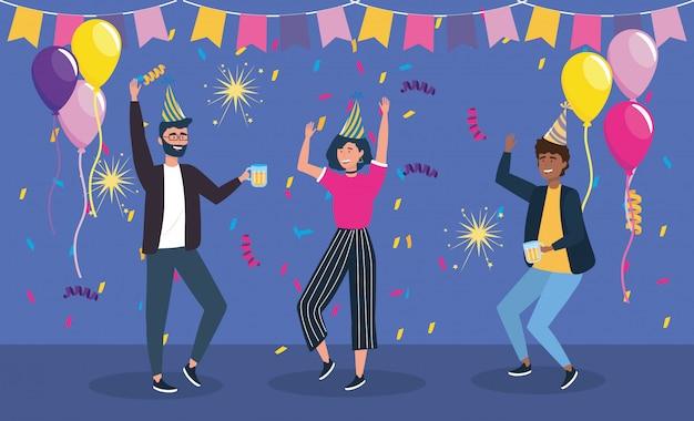 Hommes et femme dansant sur la fête Vecteur gratuit