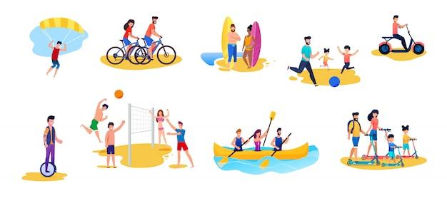 Hommes et femmes actives ayant le repos cartoon set. cyclisme, parachute ascensionnel, surf, ballon-ball et volley-ball, monocycle à cheval, conduite de cyclomoteur, scooter, navigation de plaisance Vecteur Premium
