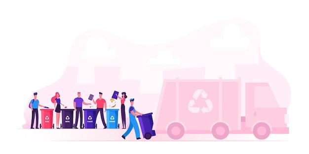 Les Hommes Et Les Femmes Jettent Des Sacs Dans Des Conteneurs De Recyclage Pour Le Tri Des Déchets. Illustration Plate De Dessin Animé Vecteur Premium