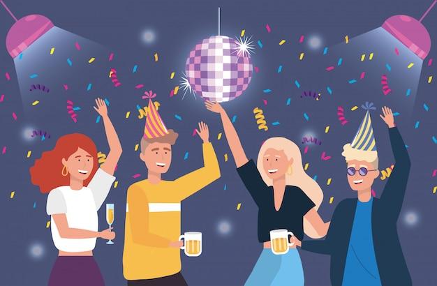Hommes et femmes mignons danser avec une décoration de confettis Vecteur gratuit
