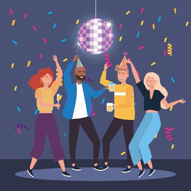 Hommes et femmes mignons danser avec du champagne et de la bière Vecteur gratuit