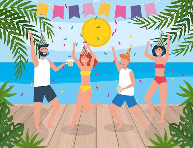 Hommes et femmes mignons danser avec des plantes et des confettis Vecteur gratuit