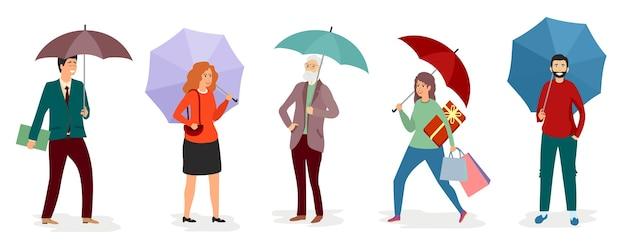 Hommes Et Filles Tenant Un Parapluie Sous La Pluie Vecteur Premium