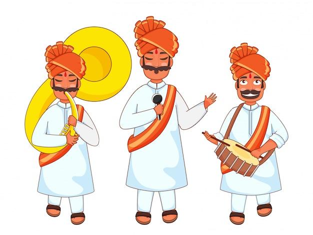 Les Hommes Indiens Jouant De La Caisse Claire, Sousaphone Et Chantant Du Microphone. Vecteur Premium