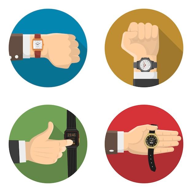 Hommes montres 4 icônes plates rondes Vecteur gratuit