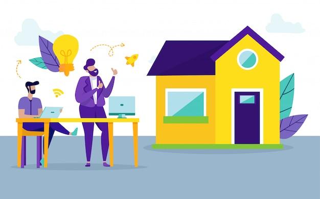 Hommes avec ordinateur portable. achat de maison rentable. vecteur. Vecteur Premium
