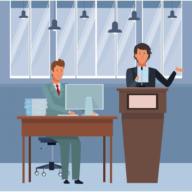 Hommes sur un podium et un bureau Vecteur Premium