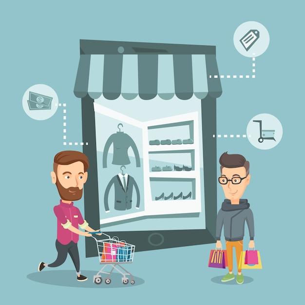 Hommes de race blanche faisant des achats en ligne. Vecteur Premium