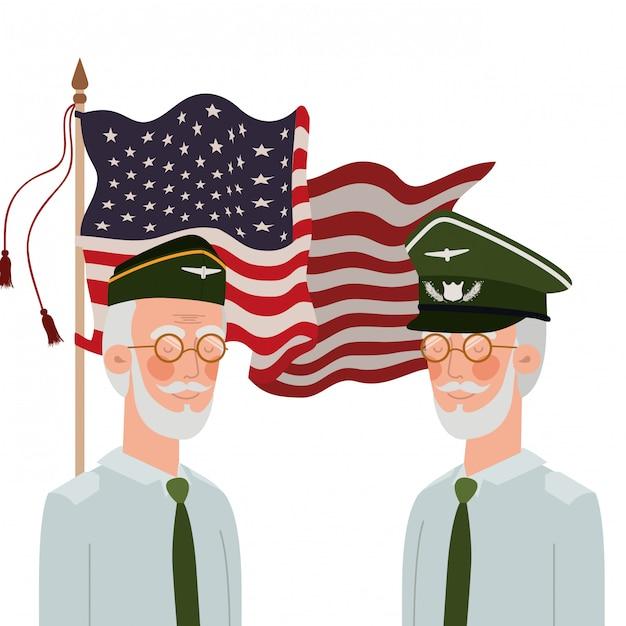 Hommes soldats de guerre avec drapeau des états-unis Vecteur Premium