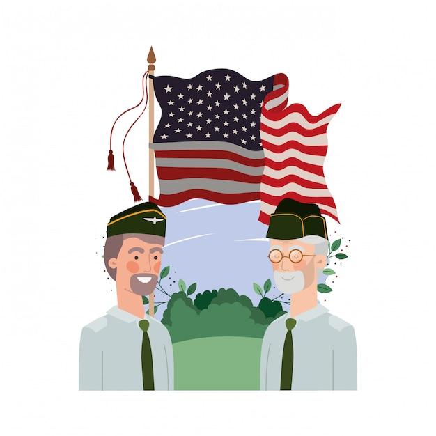 Hommes soldats de guerre avec paysage et drapeau des états-unis Vecteur Premium