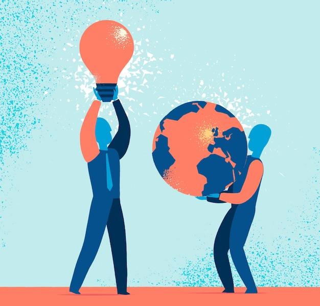 Hommes tenant l'ampoule et le globe terrestre Vecteur gratuit